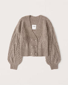 Double-Breasted Cropped Cardigan, TAUPE