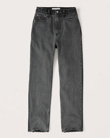 Ultra High Rise Ankle Straight Jeans, WASHED BLACK