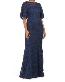 Lace Flutter Sleeve Gown