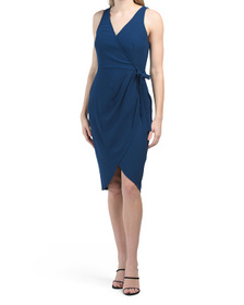 Divine Crepe Faux Wrap Dress