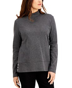 Cotton Mock-Neck Button-Hem Top, Created for Macy'
