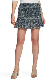 1.State Floral Ruched Ruffled Mini Skirt