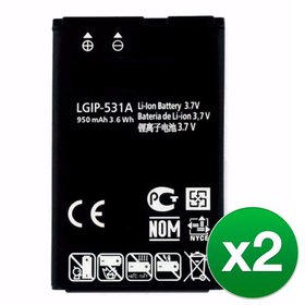 2 Pack Replacement Battery for LG LGIP-531A