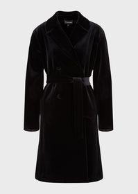 Armani Belted, double-breasted velvet coat