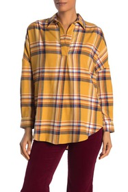 French Connection Rhodes Check Print Popover Shirt