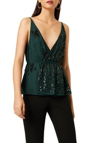 French Connection Aurora Sequined Wrap Blouse