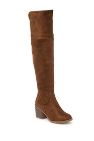 Top Moda Over The Knee Block Heel Boot