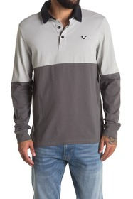 True Religion Colorblock Long Sleeve Rugby Polo
