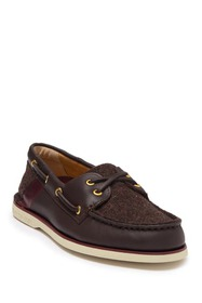 Sperry Gold 2-Eye Lace Up Tweed Boat Shoe