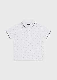 Armani Piqué polo shirt with all-over lettering