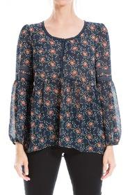 Max Studio Printed Button Front Blouse