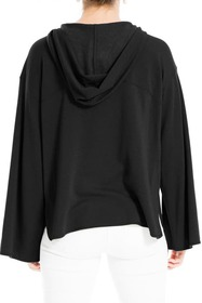 Max Studio Long Bubble Sleeve Pullover Hoodie