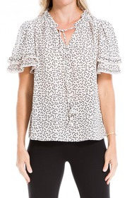 Max Studio Floral Tiered Sleeve Top