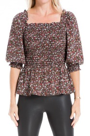 Max Studio Floral Smocked Puff Sleeve Blouse