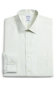 Brooks Brothers Gingham Plaid Regular Fit Dress Sh