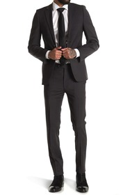 Calvin Klein Charcoal Solid Two Button Notch Lapel