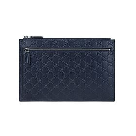 Gucci Gucci Men's GG Signature Blue Leather Zip Po
