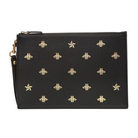 Gucci Gucci Men's Bee Star Leather Pouch In Black