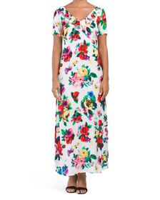 Pixelated Floral Print Dress