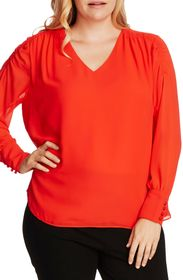 Vince Camuto Long Sleeve Smocked V-Neck Blouse