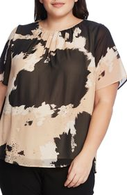 Vince Camuto Short Sleeve Abstract Cowhide Chiffon