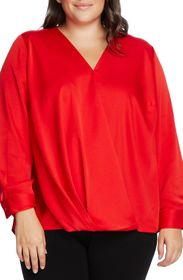 Vince Camuto Long Sleeve Wrap Front Satin Blouse