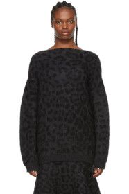 Valentino - Black & Grey Mohair Leopard Sweater