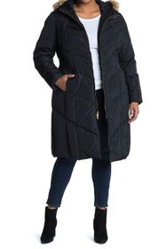 Cole Haan 3/4 Down Puffer With Faux Fur Trim Hood