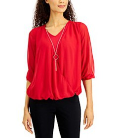 Three-Quarter-Sleeve Necklace Top, Created For Mac
