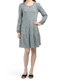 Tiered Animal Print French Terry Dress