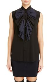 Givenchy Pleated Bib Silk Blend Blouse