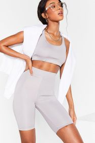 Nasty Gal Grey Get It Two-gether Crop Top and Bike