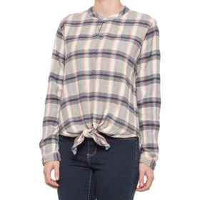 dylan Wyatt Plaid Tie-Front Shirt - Long Sleeve (F