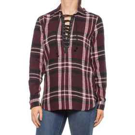 Rock & Roll Cowgirl Plaid Lace-Up Shirt - Long Sle