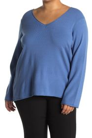 T Tahari Long Sleeve V-Neck Rolled Edge Sweater