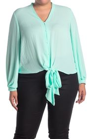 Vince Camuto Bubble Sleeve Tie Front Top