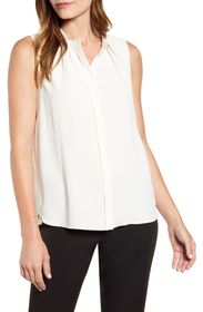 Anne Klein Sleeveless Mandarin Collar Front Pleat