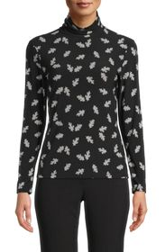 Anne Klein Floating Leaves Turtleneck