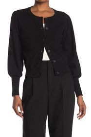 T Tahari Long Puff Sleeve Button Front Cardigan