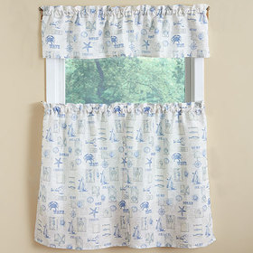 By The Sea Text Print Kitchen Curtains