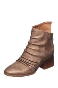 Antelope Ruched Leather Asymmetrical Boot