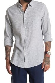 Onia Abe Pinstripe Linen Blend Regular Fit Shirt