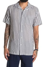 Onia Vacation Camp Collar Stripe Print Regular Fit