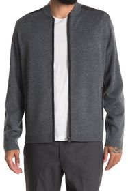 Theory Thad Soft Luster Full Zip Wool Cardigan