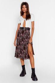 Nasty Gal Black Grow the Difference Floral Midi Sk