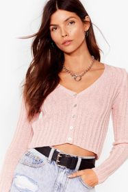 Nasty Gal Baby pink Pink Cropped Button-Down Cardi