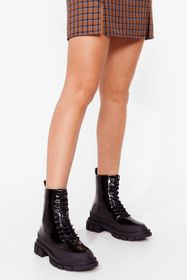 Nasty Gal Black One of a Shine Patent Heeled Boots