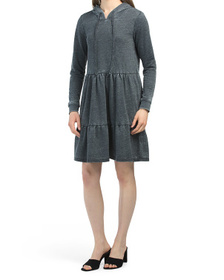 French Terry Hooded Tier Dress