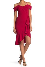 bebe Cold Shoulder Ruffle Hem Midi Dress