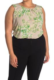 Calvin Klein Floral Pleated Sleeveless Top